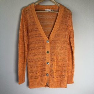 360 sweater linen blend open knit cardigan size M